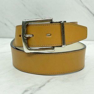 Fossil White Brown Reversible Leather Belt Size 28